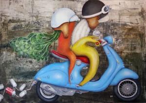 Veggie Vespa - Beau und Rübchen go Italy - 80 x 120 x 4 cm - Acryl und Pigmente auf Leinwand